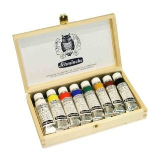 Schmincke Set of Gouache Paint in Light Wooden Box